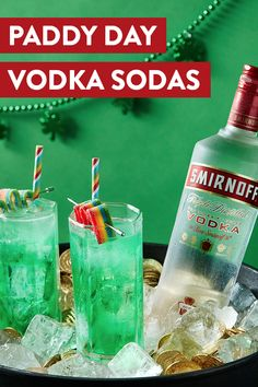 Skip the usual stout this St. Patrick's Day and go for green with a round of gluten-free Smirnoff Vodka Sodas. Recipe: oz Smirnoff No. 21 Vodka, 3 oz club soda, Green food coloring, Mix ingredients over ice. Garnish with your favorite rainbow candy! Vodka Drinks, Bar Drinks, Cocktail Drinks, Alcoholic Drinks, Green Cocktails, Drinks Alcohol, Beverage, Smirnoff, Holiday Drinks