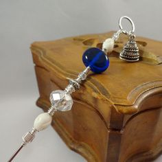 A La Carte Crystal and Cobalt Wedding Wire Wrapped Cake Tester by CanoodlesJewels, $22.00
