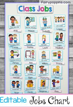 This classroom jobs chart is very popular with kids in preschool kindergarten grade and grade. It features are range of editable name labels and jobs. There are also headings included. It's easy to set up on a magnetic whiteboard or bulletin board. Preschool Classroom Jobs, Preschool Job Chart, Classroom Job Chart, Classroom Helpers, Toddler Classroom, First Grade Classroom, Preschool Kindergarten, First Grade Jobs, Kindergarten Job Chart