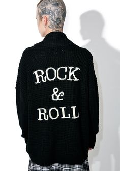 "Gypsy Warrior Rock & Roll Cardigan cuz yer alwayz here to stay. There's no one to outplay you especially when yer wrapped in this sik cardigan featuring a comfy azz knit construction, open front to let in breeze, and back stitching that reads ""ROCK & ROLL."""