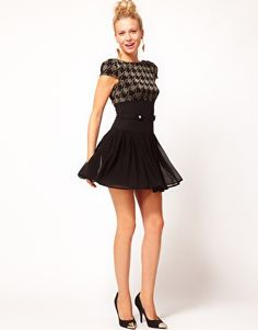 ASOS PETITE Exclusive Dress With Lurex Top And Chiffon Skirt $47.49