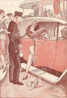 L' Agent de Police - La Contravention  - Dessin Fabiano - Gravure Ancienne 1929