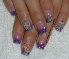 Nails May Flowers, Purple Flowers, Mylar Nails, Beauty Skin, Hair Beauty, Magical Wedding, Shades Of Purple, Pedi, Hair And Nails