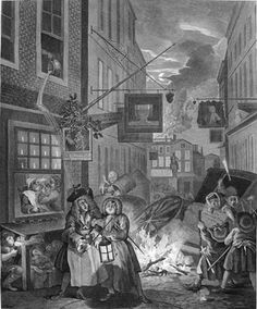 William Hogarth, The Four Times of Day: Night, 1736-note the Freemason dig?