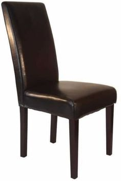 Set of 2 Armless Faux Leather Contemporary Brown Walnut Kitchen Dining Chairs #ArmlessChair #Armless #FauxLeather #Contemporary #BrownChair #DiningChair #Leather #ArmlessBrownChair #FauxLeatherChair #ContemporaryChair #Brown