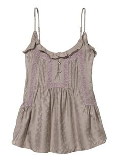 Grey lace baby doll top, perfect for layering over a grape t! Soft Light, Alter Ego, Rebecca Taylor, Cami Tops, Cool Baby Stuff, Camisoles, Gold Leaf, Clothing Ideas, Cas