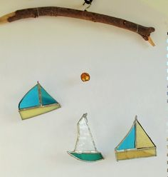Stained Glass Boat Mobile in Seaside Colours  £15.00