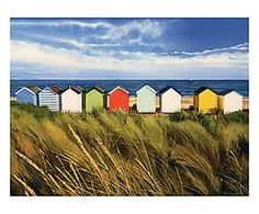 Toile sur châssis BEACH HUTS, bleu et jaune - 80*60