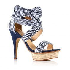 Sandales en tissu rayé à talon femme du 36 au 41 - Rayé bleu- Vue 1