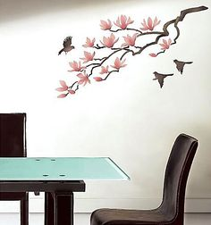 Magnolia Wall Art Stencil from Cutting Edge Stencils - use this to make custom curtains (my colors: light gray branch, shades of blue flowers, birds a mix of both)