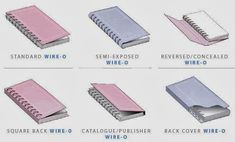 Different types of wiro binding, all bordering on painfully ugly accept the covered one.