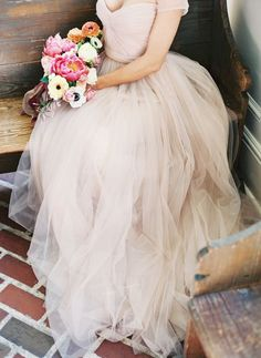 Wedding Dress | Blush Tulle | http://www.foreverbride.com