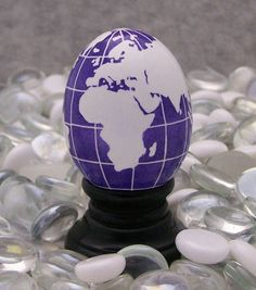 Pysanky Chicken Egg Purple Globe with Stand by EggsbyKathy on Etsy