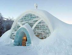 The exterior of the Ice Hotel, Chena Hot Springs Resort, Alaska