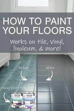 Give your bathroom floor new life on a budget with this easy DIY floor painting project… Home Renovation, Home Remodeling, Diy Home Repair, Ideas Hogar, Painted Floors, Ceiling Tiles Painted, Home Upgrades, Home Repairs, Floor Painting