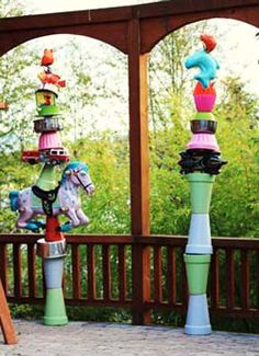 found object laughter poles- garden decoration!