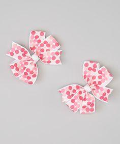 This Pink Polka Dot Cartwheel Bow Clip Set is perfect! #zulilyfinds