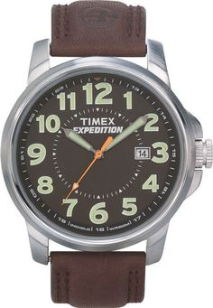Timex Men's Expedition Brown Leather Strap Silver Tone Case Indiglo T44921 753048177851 | eBay