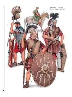 Pannonia & Dalmatia. 1:Caius Castricius Victor,Legio II Adiutrix;Aquincum,Pannonia Inferior,AD 88-92.2:Thracian auxiliery cavalryman;Mostar area,Dalmatia,1st century AD.3:Legionary of a vexillatio,Legio IIII Flavia Felix;Sirmium,Trajanic period.4:Optio Aelius Septimus,Legio II Adiutrix;Aquincum,end of 2nd century AD.