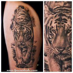 Pretty tiger tattoo by @hazardinks