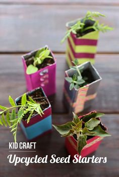 Easy Earth Day activity for the kids - DIY seed starter planters made from upcycled juice boxes. My kids loved these! @JuicyJuiceUSA