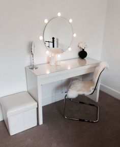 Ikea malm dressing table with round mirror and lights! Ideal for dressing room! : Ikea malm dressing table with round mirror and lights! Ideal for dressing room! Home Bedroom, Bedroom Decor, Bedroom Ideas, Master Bedroom, Bedroom Styles, Ikea Malm Dressing Table, Dressing Tables, Dressing Table Mirror, Ikea Vanity Table