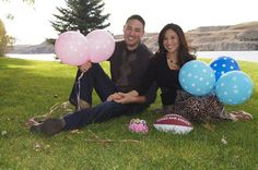 Twins baby gender reveal! Baby boy and baby girl! We used pink and blue balloons with a Texas A&M Aggie football and a princess crown to show the gender! Fall maternity photo shoot in Great Falls, Montana.