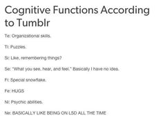 Accurate. Cognitive functions according to tumblr.