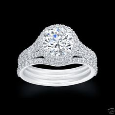 1.75 CT IDEAL ROUND SPLIT SHANK HALO ENGAGEMENT RING & WEDDING BAND SET EGL USA