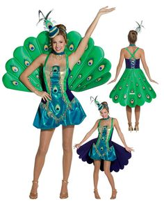 Peacock Adult Costume. It's terrible but I'm pinning it for the skirt/plumage mechanism.