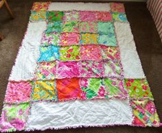 Lilly Puliter Rag Quilt Throw 48x68 by dmaeredesigns on Etsy, $175.00