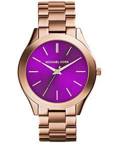 Michael Kors Women's Slim Runway Rose Gold-Tone Stainless Steel Bracelet Watch 42mm MK3293