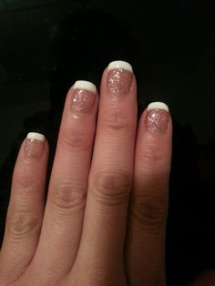 Gel nails : june bride sparkles from Gelish and white from shellac!