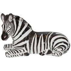 Italian Midcentury Hand-Painted Majolica Zebra | From a unique collection of antique and modern sculptures at https://www.1stdibs.com/furniture/decorative-objects/sculptures/