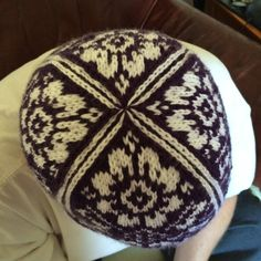 Purple and white colorwork hand knitted hat. One by Woolycricket