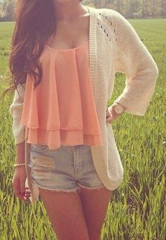 Summer going into fall Love it repinned by #socovintage SoCoVintage.com Cute Summer Outfits, Casual Outfits, Spring Outfits, Outfits For Teens, Cute Outfits, Spring Clothes, 30 Outfits, Summer Dresses, Cute Fashion