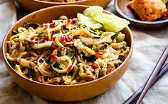<p>Spiralized zucchini is tossed with cabbage in a creamy, spicy, and sweet satay sauce.</p>
