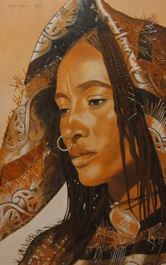 Imagen creada, Retrato oleo de Shakal sobre mujer en el desierto de Tenere imagen creada por adición.