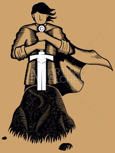 King Arthur Vector Cartoon Illustration. knight excalibur