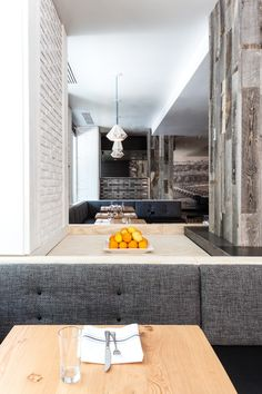 Hock Farm Restaurant with Gray Upholstered Benches