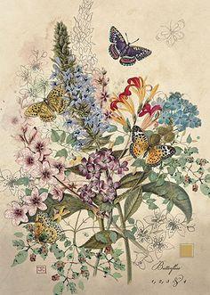 Botanical Butterflies - Bug Art greeting card