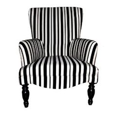 Black U0026 White Striped Upholstered Wing Arm Chair