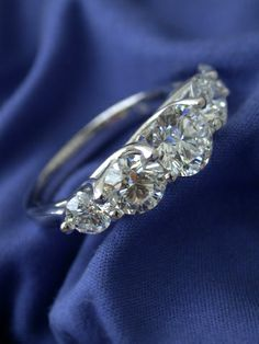 5-stone trellis-style diamond ring
