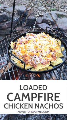 Loaded campfire nachos, with shredded chicken and hummus, are a cheesy delicious camping meal everyone will love. Easy recipe with all the best toppings! meals easy Ultimate Loaded Campfire Nachos with Chicken Camping Hacks, Camping Food Make Ahead, Best Camping Meals, Camping Menu, Camping Dishes, Camping Breakfast, Backpacking Food, Breakfast For Dinner, Tent Camping