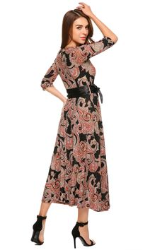 ad7427f49a6 Zeagoo Womens Printed 3 4 Sleeve Wrap Waist Tie Long Maxi Dress Medium  Black -- Continue to the product at the image link.(It is Amazon affiliate  link)   ...