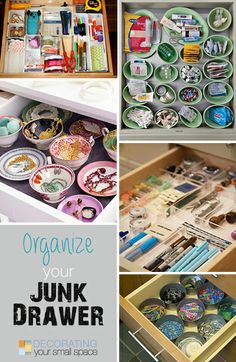 Ways To Organize Your Junk Drawer Great step by step tips ideas on how to organize your junk drawer! Organize Your Life, Organizing Your Home, Organising, Organizing Ideas, Home Organisation, Storage Organization, Storage Ideas, Staying Organized, Cleaning Hacks