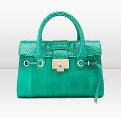 Jimmy Choo | Rosalie S | Jade Matt and Shiny Elaphe Top Handle Bag | JIMMYCHOO.COM