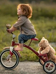 Murray, Adrian C - Boy & Teddy Bear on Tricycle So Cute Baby, Baby Kind, Cute Babies, Precious Children, Beautiful Children, Baby Pictures, Cute Pictures, Cute Kids Photos, Baby Images