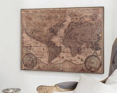 Vintage style world map framed wall decor gumiabroncs Gallery