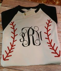 Monogrammed Baseball/Softball Raglan by PolkaDottedSunflower, $25.00